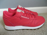 REEBOK WOMEN'S CLASSIC CLLTHR HYPE PINK LEATHER SNEAKERS WALKING SHOES SIZE 7