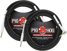 """2-Pack PIG HOG 18.5' foot ft 1/4"""" RA RIGHT ANGLE GUITAR INSTRUMENT CABLE PH186R"""