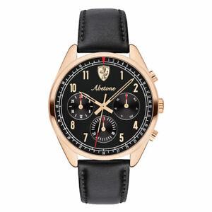 Ferrari Men's Abetone Rose Gold Black Leather Strap 42mm Chronograph Watch