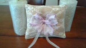 Tan burlap & lace covered Pillow New Lavender bow pinklady cottage