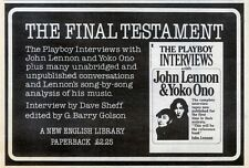 "24/7/82PGN11 BOOK ADVERT 7X11""  : THE PLAYBOY INTERVIEWS WITH JOHN LENNON & YOKO"