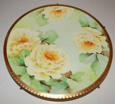 Vintage Richard Ginori Hand Painted Yellow Rose Gold Trim Plate Artist Signed