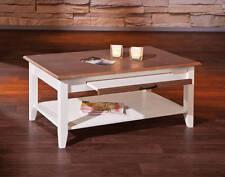 Tisch Couchtisch Beistelltisch Weiß Braun Massivholz Schublade Metallgriff NEU
