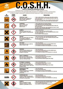 COSHH HEALTH AND & SAFETY A4 / A3 POSTER