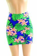 SMALL Hawaiian Floral Lycra Spandex Bodycon Mini Skirt Clubwear NWT Coquetry