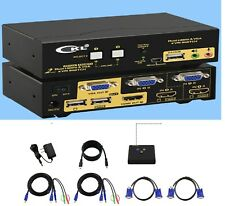 CKL 2 Port Dual Monitor KVM Switch HDMI + VGA with Audio, Microphone, USB 2.0