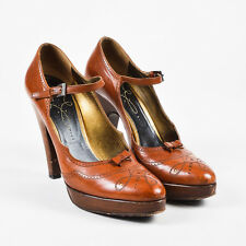 "Prada ""Cotto"" Brown Leather Platform Oxford Pumps SZ 38.5"