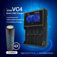 Xtar VC4 4-Slot Smart LCD Lithium Battery USB Charger+ 4x 18650 2500mAh 3.7V 20A