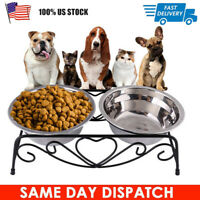 New Double Elevated Dog Dish Large 2 Bowl Feeding Stand Elevated Pet Stand