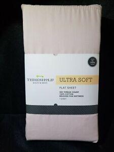 TARGET Ultra Soft Flat Sheet (Twin) Light Pink Linen 300 Thread Ct Threshold