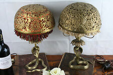 PAIR BRASS COBRA Oriental Dragon Table lamps chinese / japanese