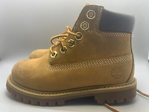 """Timberland 6"""" Premium Boys Toddler Youth Waterproof Boots Size 10 Wheat 12809"""