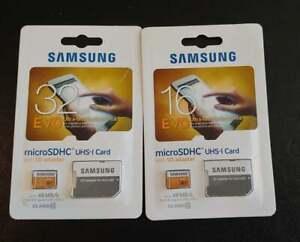Samsung microSDHC Class 10 (2) 32GB & 16GB EVO Ultra-fast Performance w/Adapter