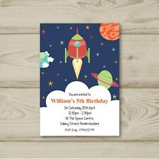 10 Personalised Birthday party invitations Space Rocket Ship Free Envelopes
