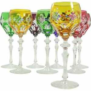 "Bohemian~8 ELEGANT CUT CRYSTAL 8-1/2"" COLORFUL WINE GLASSES STEMWARE/GOBLETS-Ex"