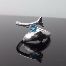 DOLPHIN Ring Vintage STERLING SILVER 925 Aquamarin Blue Stone Women's Ring Size9