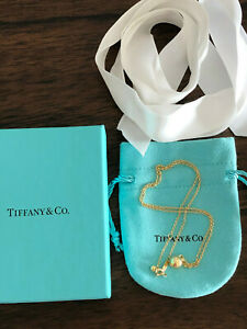 "Tiffany & CO 18k yellow gold HardWear 8mm Ball Pendant 18"" adjustable Necklace"