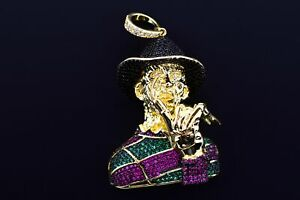 14K Yellow Gold Plated Hip Hop Micro Pave Bling Freddy Iced Flashy Charm