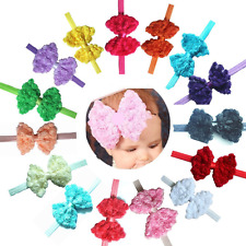 "15 Pcs 5"" Big Lace Flower Hair Bows Headbands Hair Accessories for Baby Girls,In"