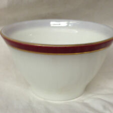"PYREX USA WHITE MILK GLASS MAROON BAND OPEN SUGAR BOWL 4 1/2"" HOLD TRIM"