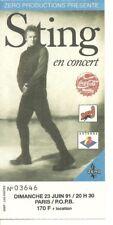 RARE / TICKET BILLET CONCERT - STING ( THE POLICE ) LIVE A PARIS ( FRANCE ) 1991