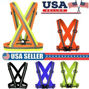 Safety Night Reflective Vest Strip Visibility Adjustable Running Cycling Belt