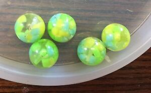 Vintage German Clear Yellow Blue Green Confetti Round Lucite Bead Lot