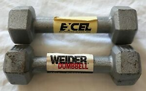 Set of Two 5lb Dumbbells – One Weider and One Excel  10lbs Total