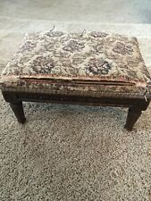Antique Child's or Doll's Miniature Embroidery Top Carved Wood Base Foot Stool