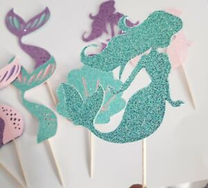 9 pcs Mermaid Cup Cakes Topper