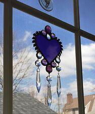 Stained Glass Window Suncatcher Heart w/ Prisms Victorian Style Purple Amethyst
