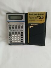 Vintage Texas Instruments Slimline Ti-35 Calculator w/ Case Fast Shipping