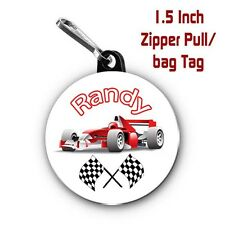 Formula 1 Zipper Pull/Bag Tags Two Personalized Charms with Name