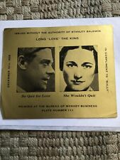 "Edward VIII And Wallis Simpson memorabilia Long ""Love"" The King"