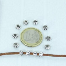120 Abalorios Daisy 6x4mm T312X  Plata Tibetano Faceted Beads Perline Argento
