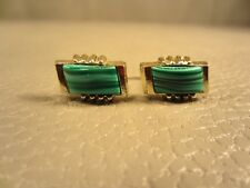 Vintage Striated Green Agate Yellow Gold Plated Cufflinks