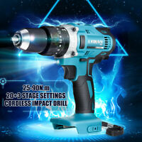 3in1 18V 13mm Cordless Compact Impact Drill Hammer Driver LED for Makita Battery