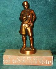 "Boy Scout Trophy Award Marble/Brass Mt. Rainier BSA Century Club 5"" Tall VINTAGE"
