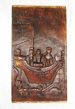 Indonesian Nias Island Tribal Carved Panel Soul Ship w. Ancestors (Eic)
