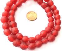 Ghana handmade Mala Red Krobo recycled Glass African trade Beads