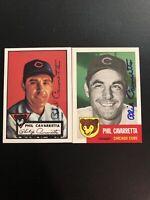 1952 & 1953 Topps Archives PHIL CAVARETTA MGR Cubs Autographed...See Description