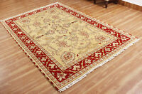 Hand Knotted Traditional Area Wool Rugs Indian Handmade Gold Floral Carpet 5x8