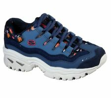 Skechers D'Lites Ladies Leather Memory Foam Walking Trainers New Shoes Sizes 5-8
