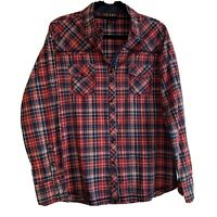 Cowgirl Up Snap Front Plaid Shirt Size Large