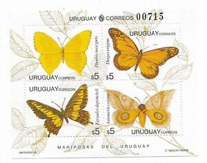 URUGUAY 1995 BUTTERPLIES INSECTS MINI SHEET MICHEL BL 67 SCOTT 1576 MINT NH