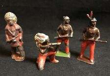 Vintage BRITAINS LEAD AMERICAN INDIAN WILD WEST Toy Figure Lot x4 Soldier Cowboy