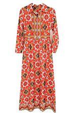 EUC Vintage Emilio Borghese Double Knit Long Sleeve Geometric Maxi Dress Size 12