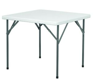 HEAVY DUTY SQUARE PLASTIC TABLE - FOLDING LEGS - NEXT WORKING DAY DELIVERY