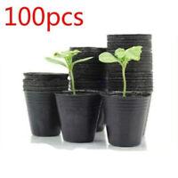 100pcs/set Plastic Nursery Pot Plants Seedling Holder Raising Block Pots Black