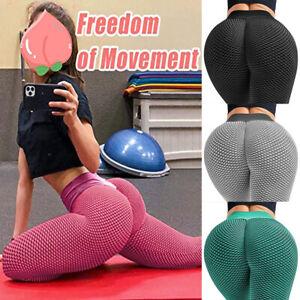 Women High Waist TikTok Leggings Ruched Anti-Cellulite Yoga Pants Fitness Gym T1